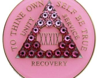 Pink Transition Crystallized Sobriety Medallion