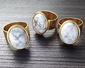 Howlite Gemstone Adjustable Ring in Gold or Silver