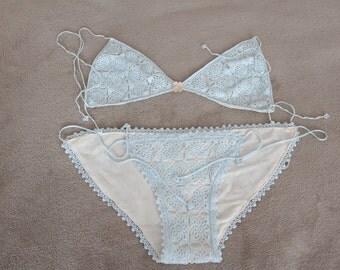 Crocheted bikini blue size 34 S