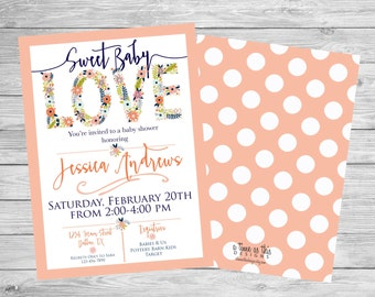 BABY SHOWER INVITATION, peach & floral, baby love