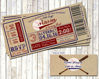BASEBALL TICKET INVITATION, Vintage Baseball Birthday Invite