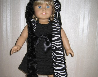 American girl doll clothes, American girl doll, 18-inch doll clothes, doll clothes, zebra spirit hood