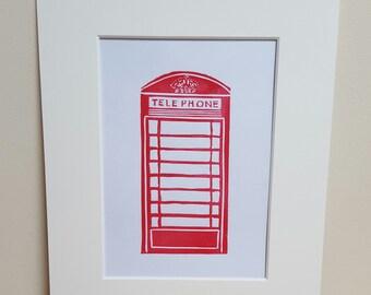 Telephone Box, hand printed lino cut.