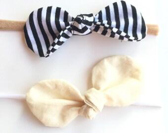 Baby round knotted bow headbands, baby bow headbands,baby bows, knotted bows, nylon headbands, newborn headbands