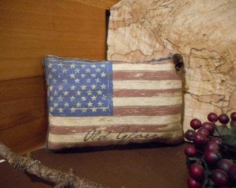 Pillow Tuck: Primitive Rustic Americana  Flag Pillow Tuck.