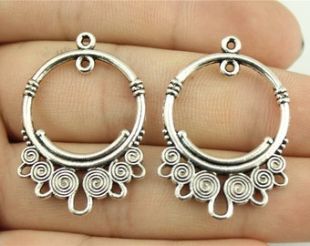 4 Earring Connector Charms, Antique Silver Tone (1F-156)