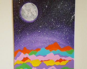 Original Painting - Neon Mountain Tops - Made to Order