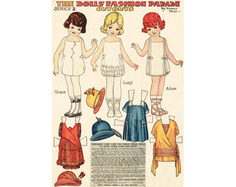 Vintage Paper Doll Fashion Parade Penny Ross Printable Instant Download