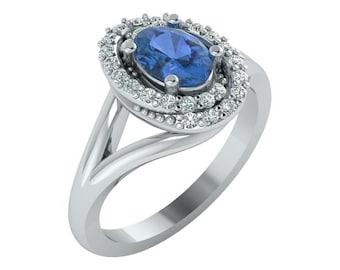 Sapphire Engagement Ring, Sapphire and Diamond Halo Ring, Vintage Sapphire Ring, Sapphire Vintage Ring,Diamond Halo Sapphire Engagement Ring