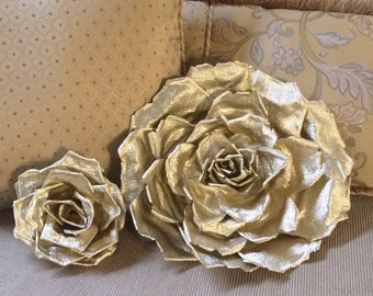 Large Gold Crepe Paper Flower, Elegant Premium Italian Crepe Paper Rose for Wedding, Event and Home Decor, Metallic Gold Flower, 8-16""