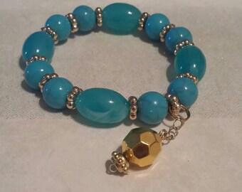 Turquoise beaded bracelet, Turquoise bracelet, stretch bracelet