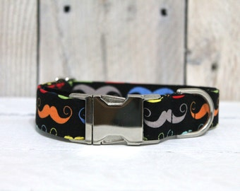 Multi-Color Mustache Dog Collar