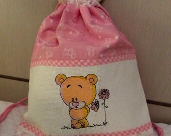 birth bag or handmade embroidered pink nursery