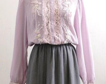 Purple pink flora-lace blouse