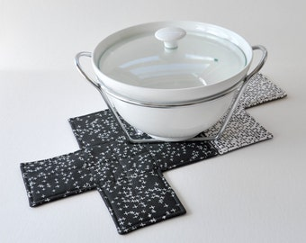Black quilted cross trivet. Fabric cross potholder. Black + white. Monochrome. Cotton + linen. Housewarming gift.