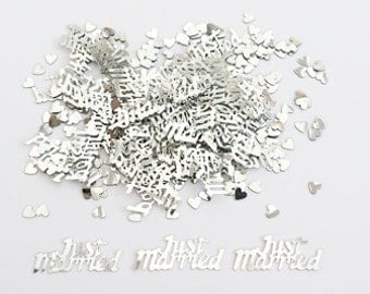 Silver Just Married - Wedding Table Confetti