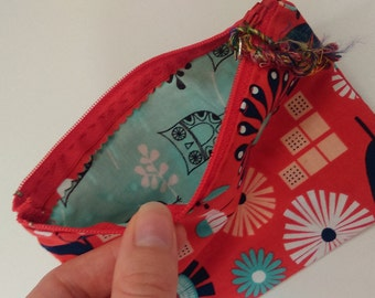 Small Zippered Pouch-- 6.5x4.5