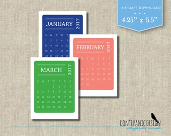 2017 Printable Desk Calendar - Modern Color Block Monthly Calendar - Instant Download