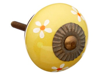 Mustard Floral Decorative Hand Painted Ceramic Dresser Drawer Knob Pull - i373
