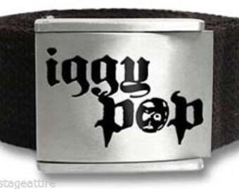 Iggy Pop Logo Web Belt The Stooges w/Enamel Inlay-Vintage!