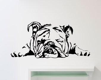 Englisch Bulldog Wand Aufkleber Hund Poster Schablone Tier Haustiere Vinyl Home Kinder Baby Zimmer Niedlich
