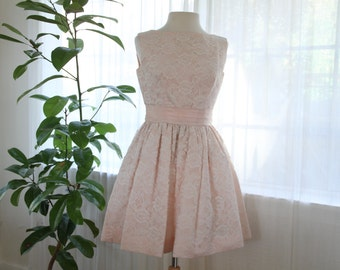 1950s pink lace party dress