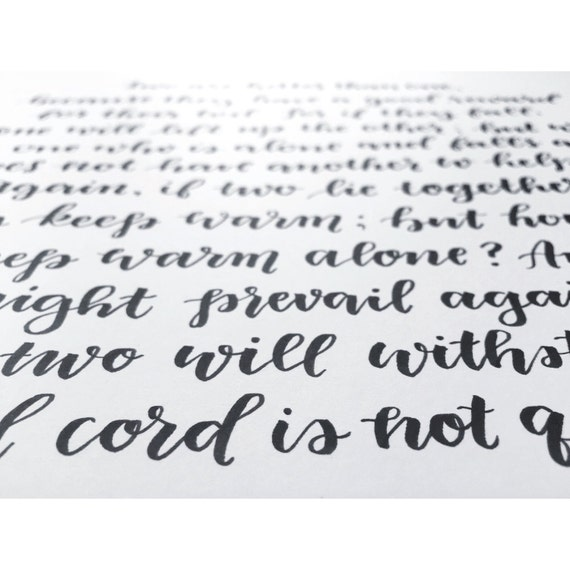 Modern calligraphy wedding print marriage scripture