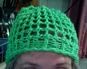 Lightweight Airy Hand Knitted Hat - You pick your own color