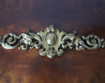 Antique french bronze furniture ornament / pediment  18''