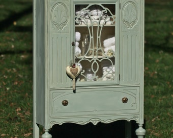 SOLD--Antique China Cabinet, Hand Painted, Vintage, Duck-Egg Blue/Green, Tea-Stained, Vintage, Cottage, French Country, Distressed,