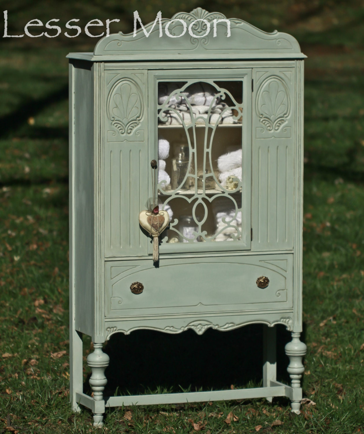 Hand Painted Kitchen Cabinets: SOLDAntique China Cabinet Hand Painted Vintage Duck-Egg