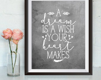 Buy One Get One, A Dream is a Wish Your Heart Makes, 8x10 or 11x14, Nursery Printable, Princess Quote, Girl Room Decor, Cinderella quote
