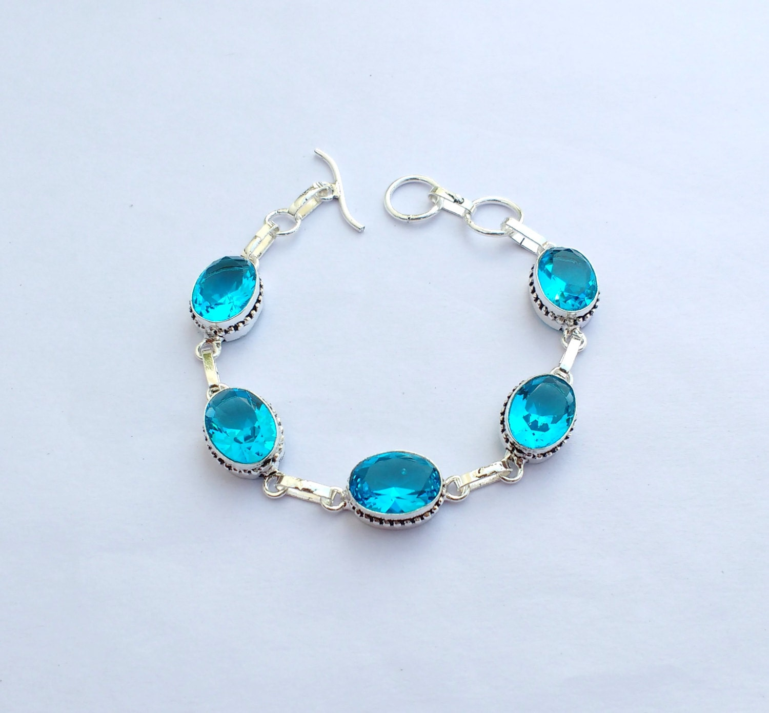 Adjustable Blue Topaz Bracelet Sterling Silver Handmade