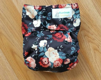 Vintage Red Roses cloth diaper - all in one cloth diaper - one size cloth diaper- Newborn AIO - hemp bamboo - girl cloth diaper - floral