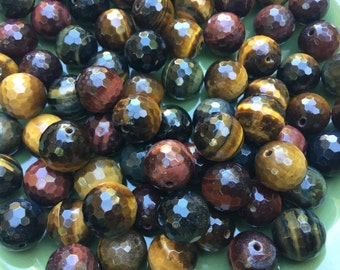 Mixed Three Color Tiger Eye AA Faceted Round Beads