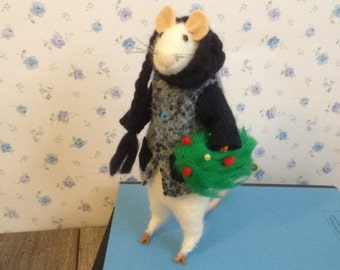 Handmade needle felted Winter Mouse With Christmas tree 18cm