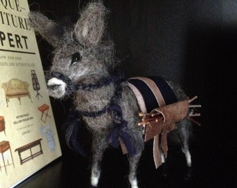 Handmade needle felted sculpture animal art Donkey