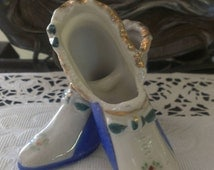 Matching Pair of Vintage Miniature Porcelain High Heel Shoes Hand Painted Sky Blue Ruffel Gold Accents Made in Japan