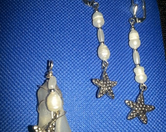 Sea Glass Starfish pendant and earrings