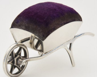 Edwardian Solid Silver Wheelbarrow Pin Cushion 1909