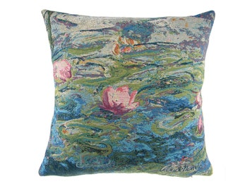 Water Lily Pond II by Claude Monet Made in Belgium Jacquard Woven Art Home decor Throw Pillow Cover Tapestry