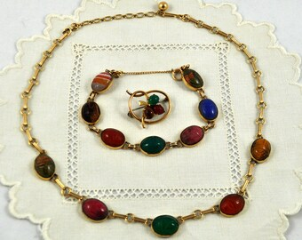 Egyptian revival scarab jewelry set