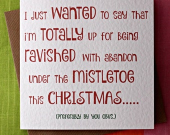 Mistletoe Ravish - Christmas Funny Card, Wife Christmas Card, Husband Christmas Card, Boyfriend Christmas Card, Girlfriend Christmas Card