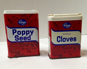 Vintage Spice Tins, Kroger Spice Tins, Poppy Seed Tin, Whole Cloves Tin, Spice Tins