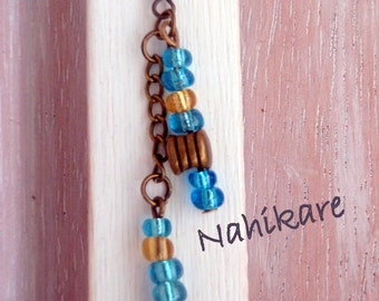 Earrings earrings style Boho antique bronze with seed beads, turquoise and gold