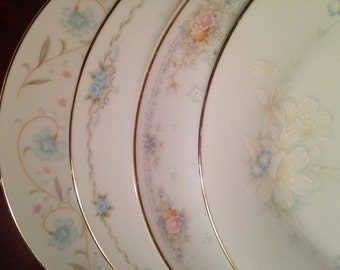 Mismatched China Dinner Plates - Set of 4 / Vintage Floral Dinnerware / Pastel Fine China Dishes