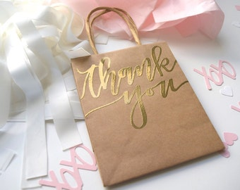 Thank You Gift Bag | 4x6 Mini Kraft Paper Bag | Handlettered Embossing | Favors | Gifts | Wedding | Shower | Bridal |