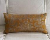 """Damask Gold & Silver Italian Linen Pillow Cover, Handmade, 12"""" x 24"""""""