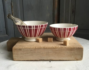 Set of 2 vintage French cafe au lait bowls