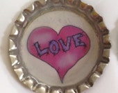For Lindsey- 90 Bottle Cap Love Magnets